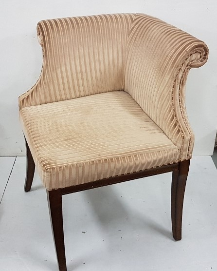 Lot 19 - Modern Corner Armchair, upholstered with light brown corded fabric, on light mahogany coloured