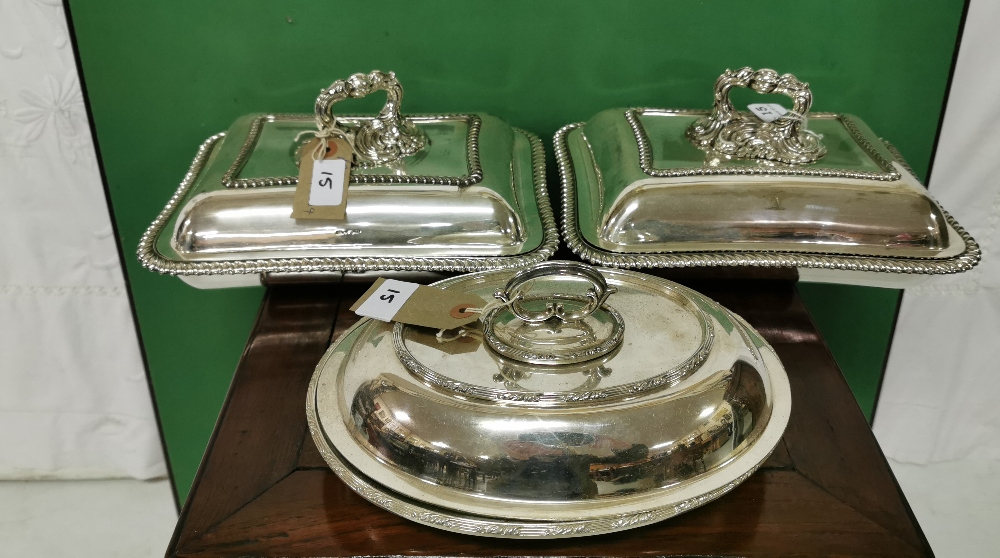"""Lot 15 - A pair of entree dishes and another dish, rectangular shaped heavy silver plated, stamped """""""