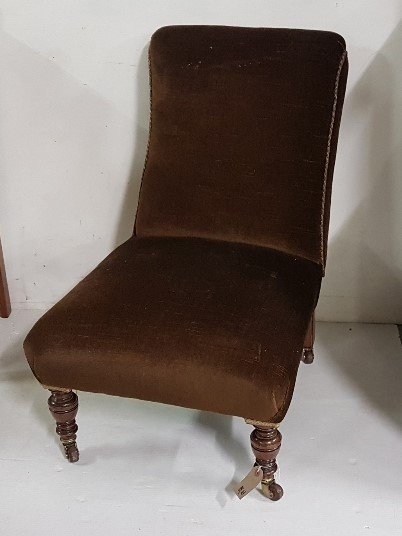 Lot 5 - Occasional Chair, on turned front legs, brown velour fabric
