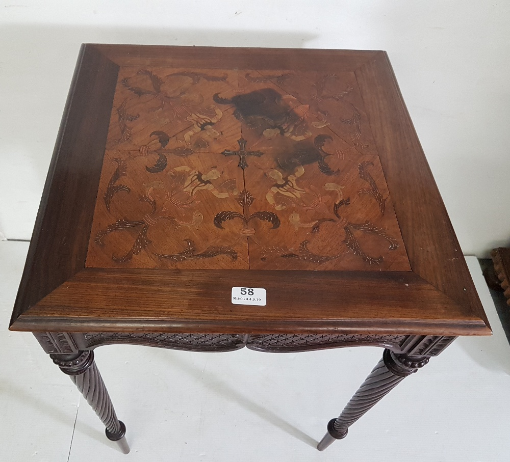 Lot 7 - Early 20th C Indonesian hardwood Occasional Table, the top featuring 4 dancers with fans on 4 turned