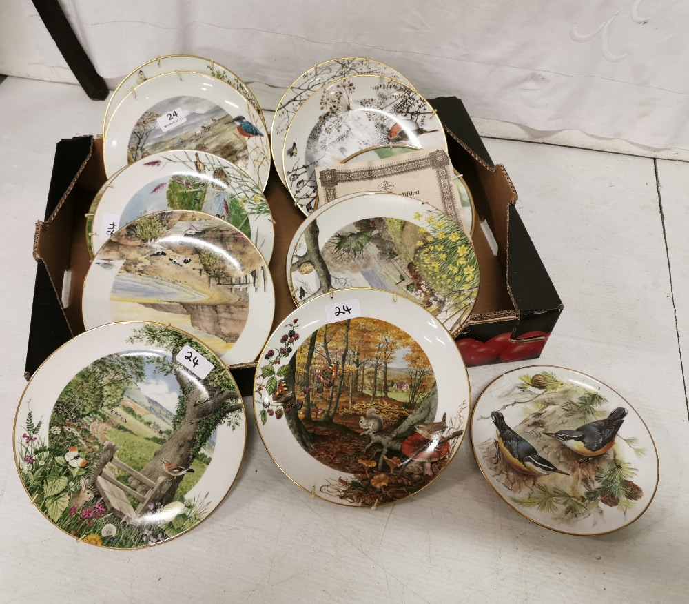 Lot 24 - 14 Porcelain collectors' plates Royal Worcester Limited edition. Landscape with rivers and forests