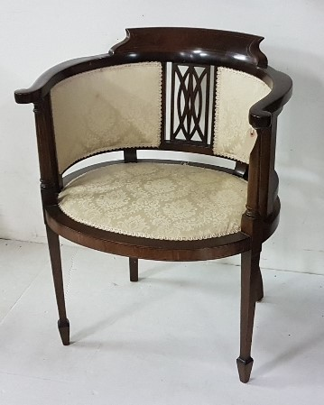 Lot 22 - An Edwardian inlaid mahogany & upholstered elbow chair, bow shaped, cream floral fabric