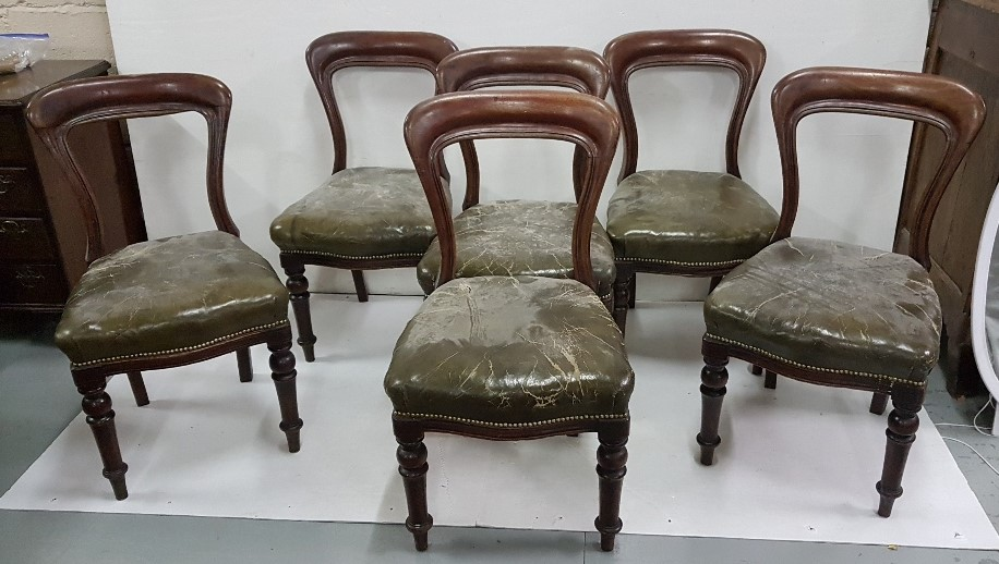 Lot 19 - Matching Set of 6 Victorian Mahogany Balloon-Back Dining Chairs, with green leather covered seats (