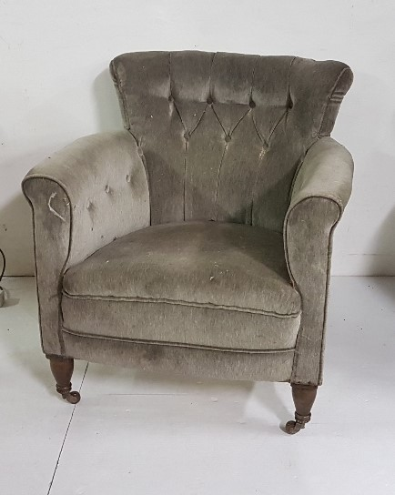 Lot 4 - Victorian Low-Back Armchair, with green velvet upholstery, button back, on turned front legs