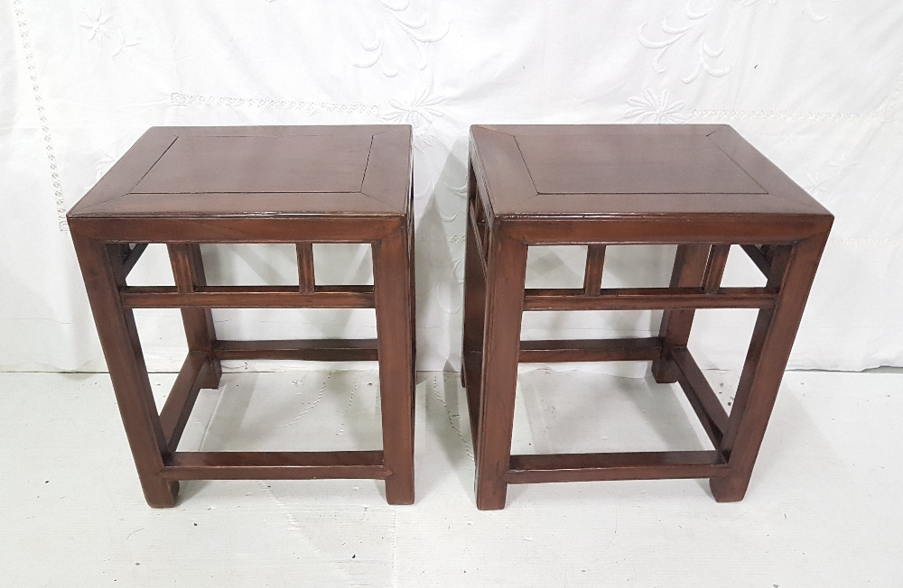 Lot 10 - Pair of Chinese low rectangular lamp tables in square supports with stretchers, 18insH x 15ins x