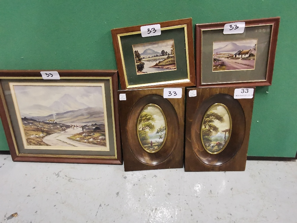 Lot 33 - Pair of Miniature Oils in Oval Mahogany Shaped Frames & 3 Donegal Prints - Mountain & Lake