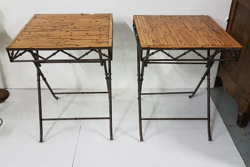 Lot 26 - 2 bamboo topped effect folding tables, metal & folding (pair), each 56cm sq top x 75cm h