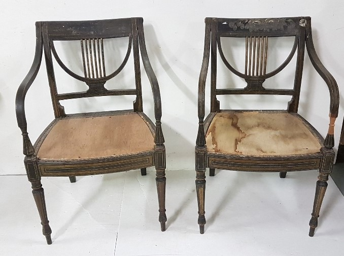 Lot 28 - Matching Pair of Regency Ebonised Carver Chairs, with lyre-design backs and turned side arms,