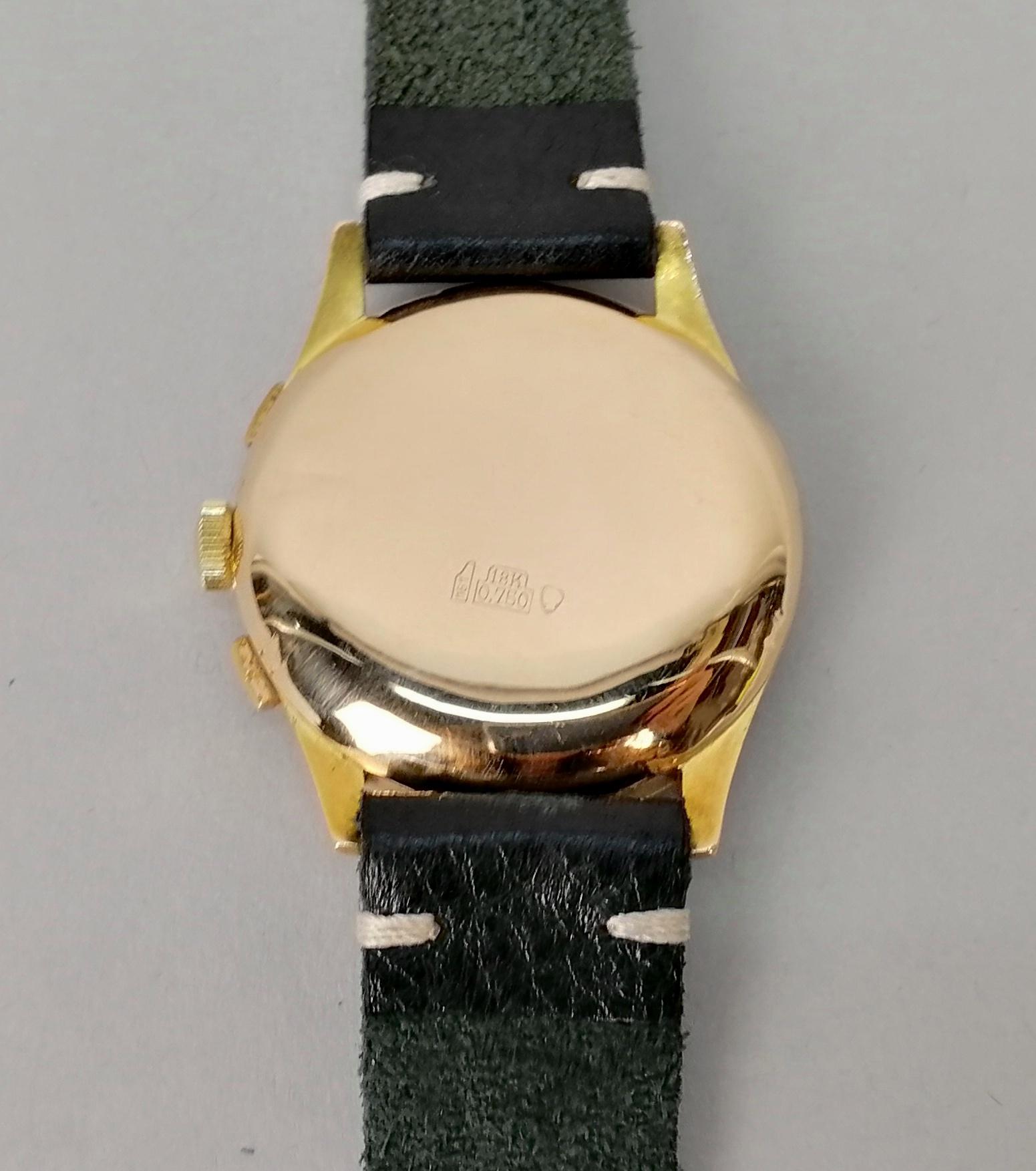 Lot 25 - HEVER. Orologio da uomo in oro giallo 18 kt., movimento cronografico Landeron 48. Quadrante
