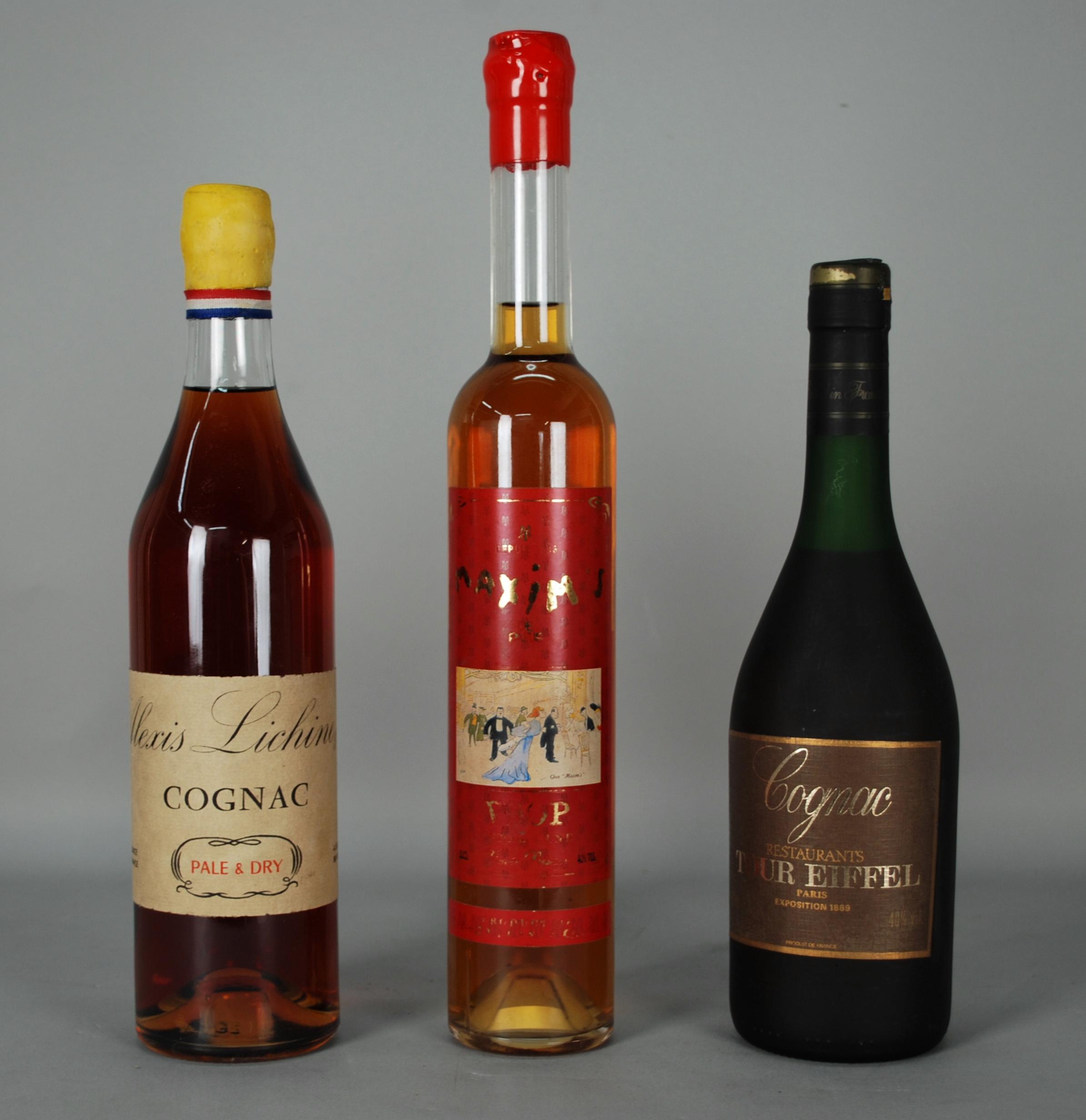 Lot 48 - Tre Cognac dell'enogastronomia francese: - Cognac ALEXIS LICHINE & C. - Pale & Dry. Tappo