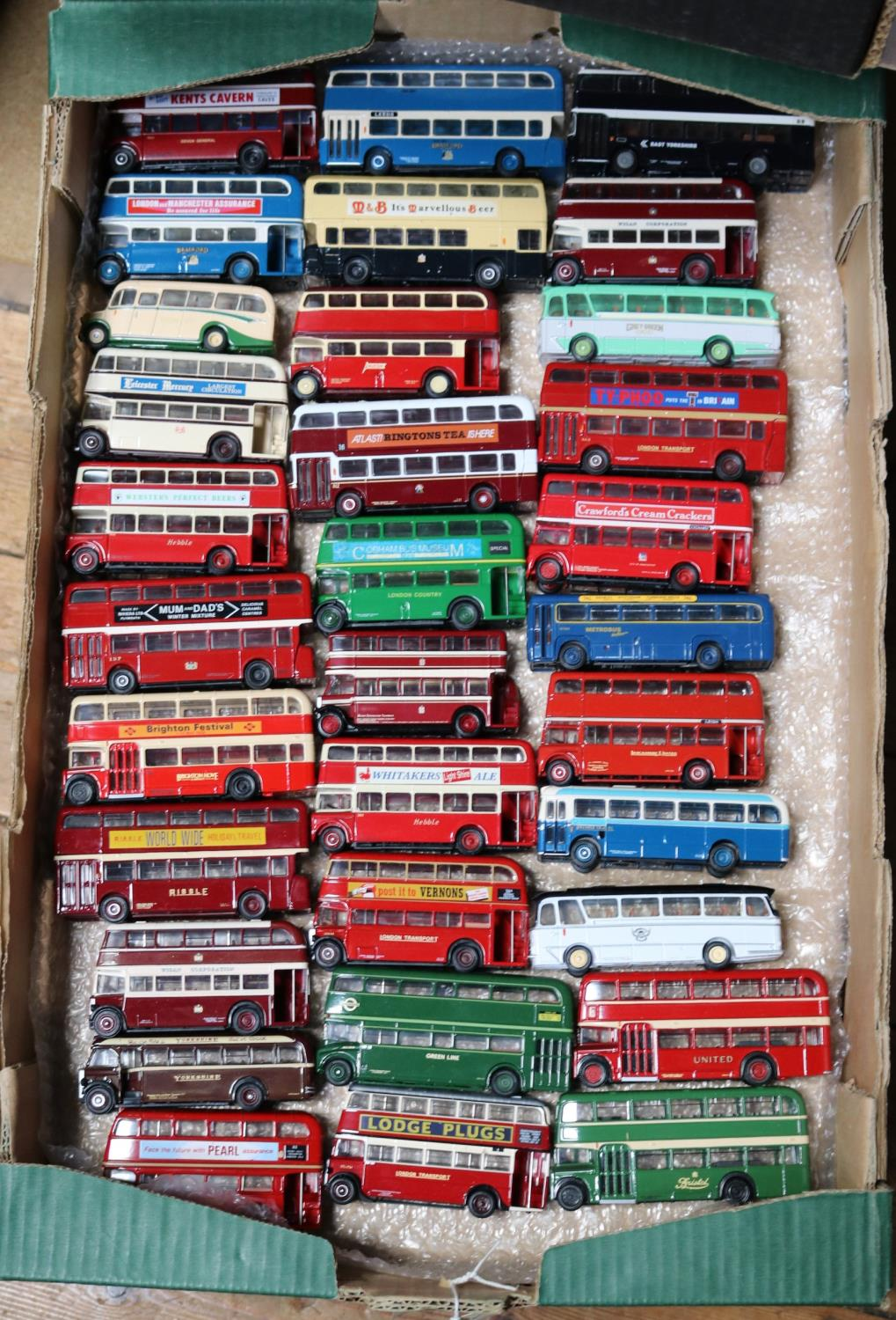 Lot 240 - 130+ unboxed buses and coaches mainly by EFE and Corgi OOC. Including single and double deck buses