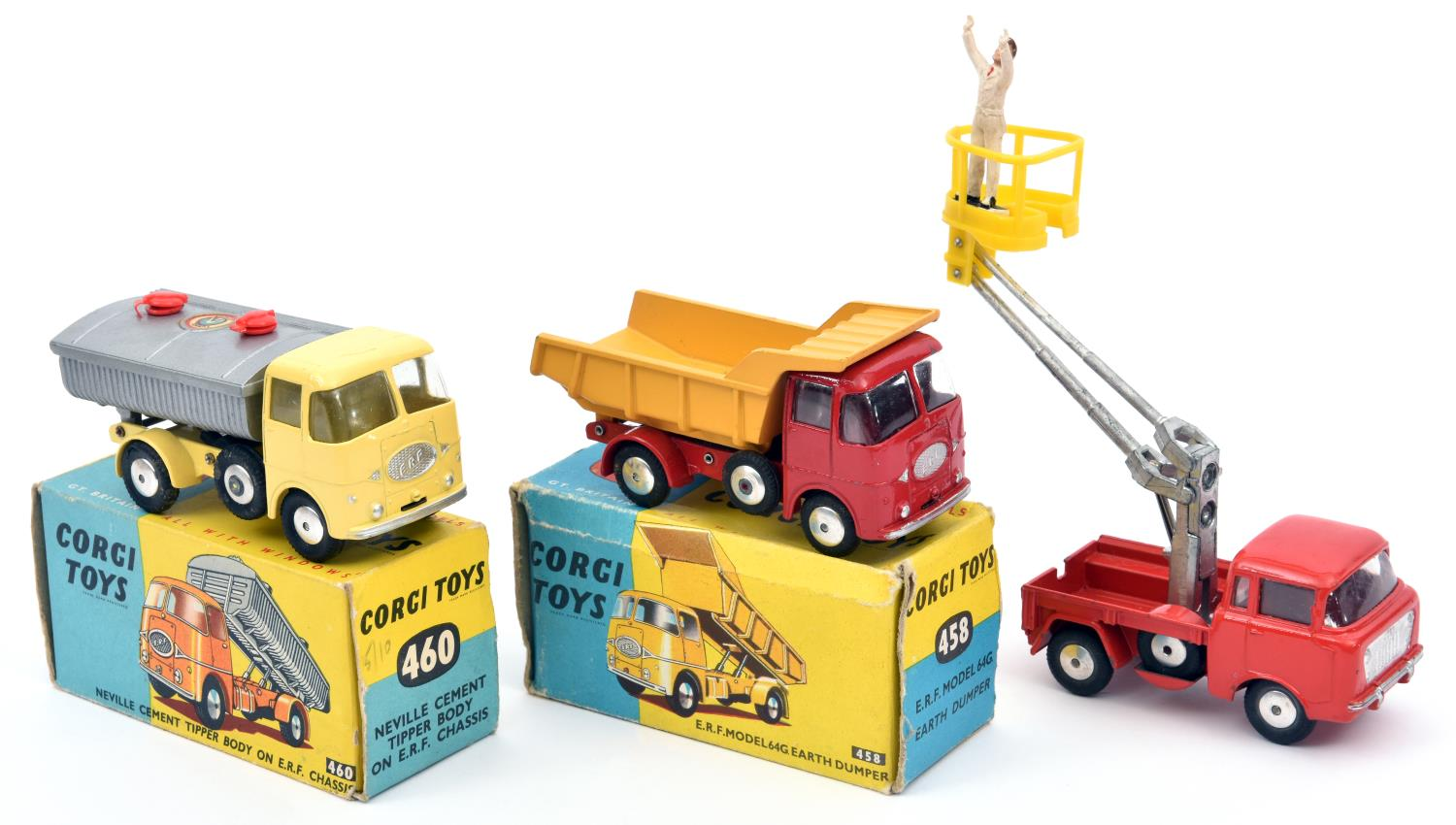 Lot 297 - 3 Corgi Toys. Neville Cement Tipper Body on E.R.F. Chassis (460). In light yellow and silver, with