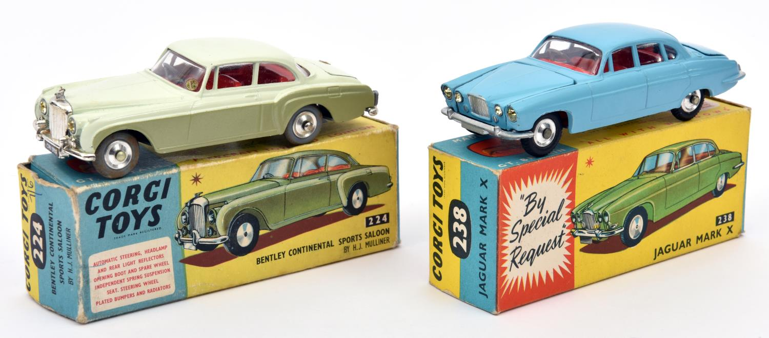 Lot 307 - 2 Corgi Toys. Jaguar Mark X (238). Example in light metallic blue with red interior. Complete with