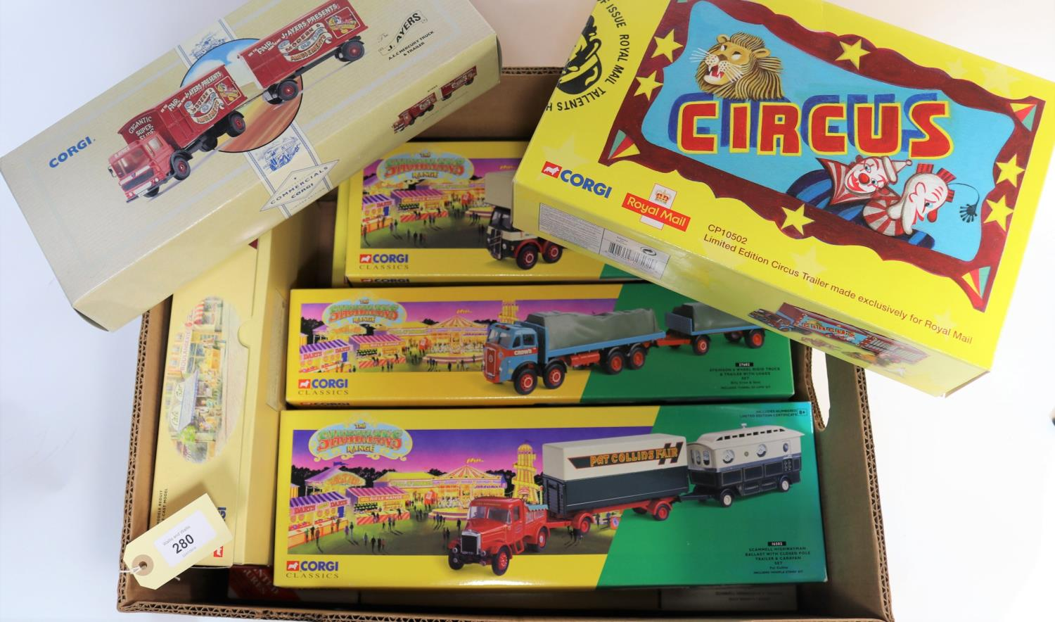 Lot 280 - 10 Corgi Classics Circus & Fair Ground Vehicles. Scammell Highwayman Ballast with Trailer &