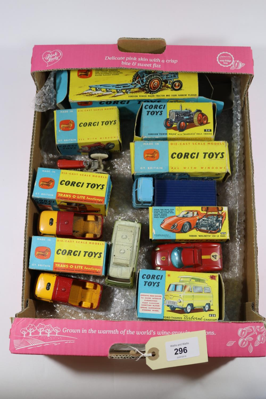 Lot 296 - 8x Corgi Toys. Gift Set No.13; Fordson Power Major Tractor & Four Furrow Plough. Massey-Ferguson