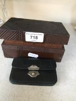 Lot 718 - Small teak box and a purse