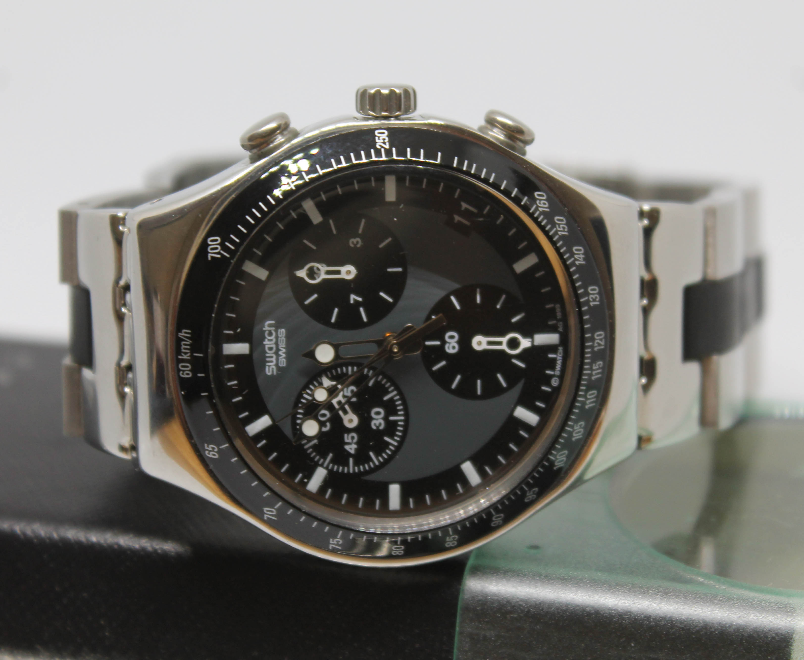 Lot 213 - A Swatch Irony Chrono stainless steel Quartz Chronograph wristwatch, with black/grey signed dial,