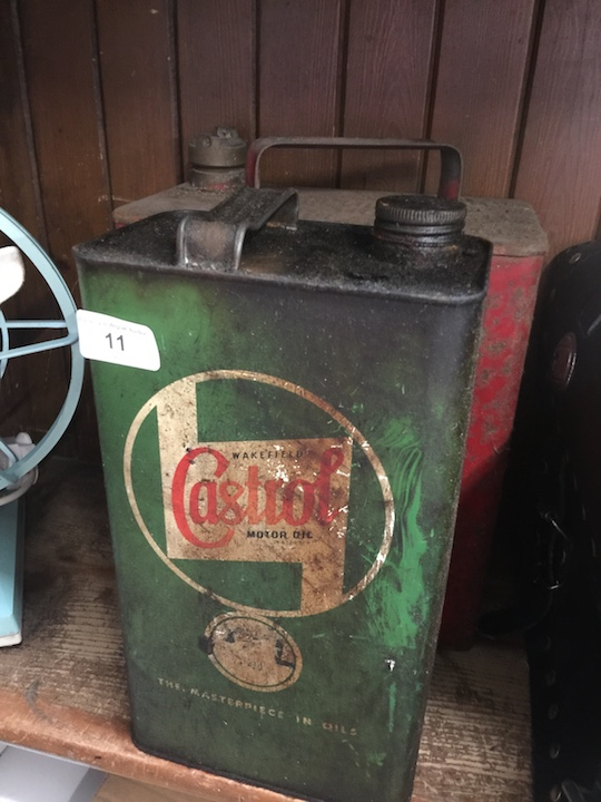 Lot 11 - 2 vintage oil and petrol canisters - 1 Castrol.
