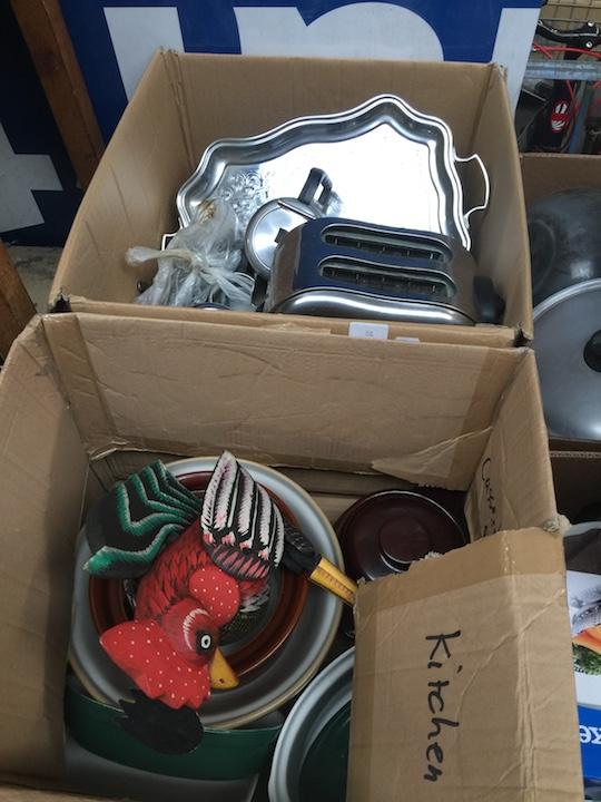 Lot 56 - 2 boxes of kitchenware to include chromed, stainless steel, toaster, pottery pots, cutlery, tray,