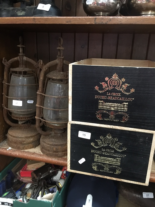 Lot 15 - 2 French wine boxes and a pair of oil lamps