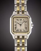 "A GENTLEMAN'S STEEL & GOLD CARTIER PANTHERE ""JUMBO"" BRACELET WATCH CIRCA 1990s Movement: Quartz,"