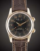 A GENTLEMAN'S 18K SOLID ROSE GOLD GIRARD PERREGAUX TRAVELLER II GMT ALARM WRIST WATCH CIRCA 2000s,