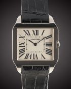 A GENTLEMAN'S 18K SOLID WHITE GOLD CARTIER SANTOS DUMONT WRIST WATCH CIRCA 2008, REF. 2651 Movement: