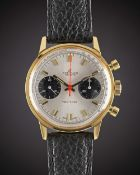 "A GENTLEMAN'S ""NOS"" GOLD PLATED BREITLING TOP TIME CHRONOGRAPH WRIST WATCH CIRCA 1969, REF. 2000-"