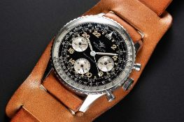 "A RARE GENTLEMAN'S STAINLESS STEEL BREITLING NAVITIMER 24 HOUR ""COSMONAUTE"" CHRONOGRAPH WRIST"