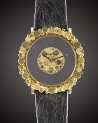 "A RARE LARGE 18K SOLID GOLD JAEGER LECOULTRE ""MYSTERY"" WRIST WATCH CIRCA 1970s Movement: Manual back"