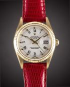 A GENTLEMAN'S SIZE 18K SOLID GOLD ROLEX OYSTER PERPETUAL DATE WRIST WATCH CIRCA 1988, REF. 15238