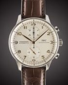 A GENTLEMAN'S STAINLESS STEEL IWC PORTUGUESE AUTOMATIC CHRONOGRAPH WRIST WATCH CIRCA 2000s, REF.