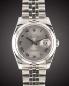 A GENTLEMAN'S STAINLESS STEEL ROLEX OYSTER PERPETUAL DATEJUST BRACELET WATCH DATED 2010, REF. 116200