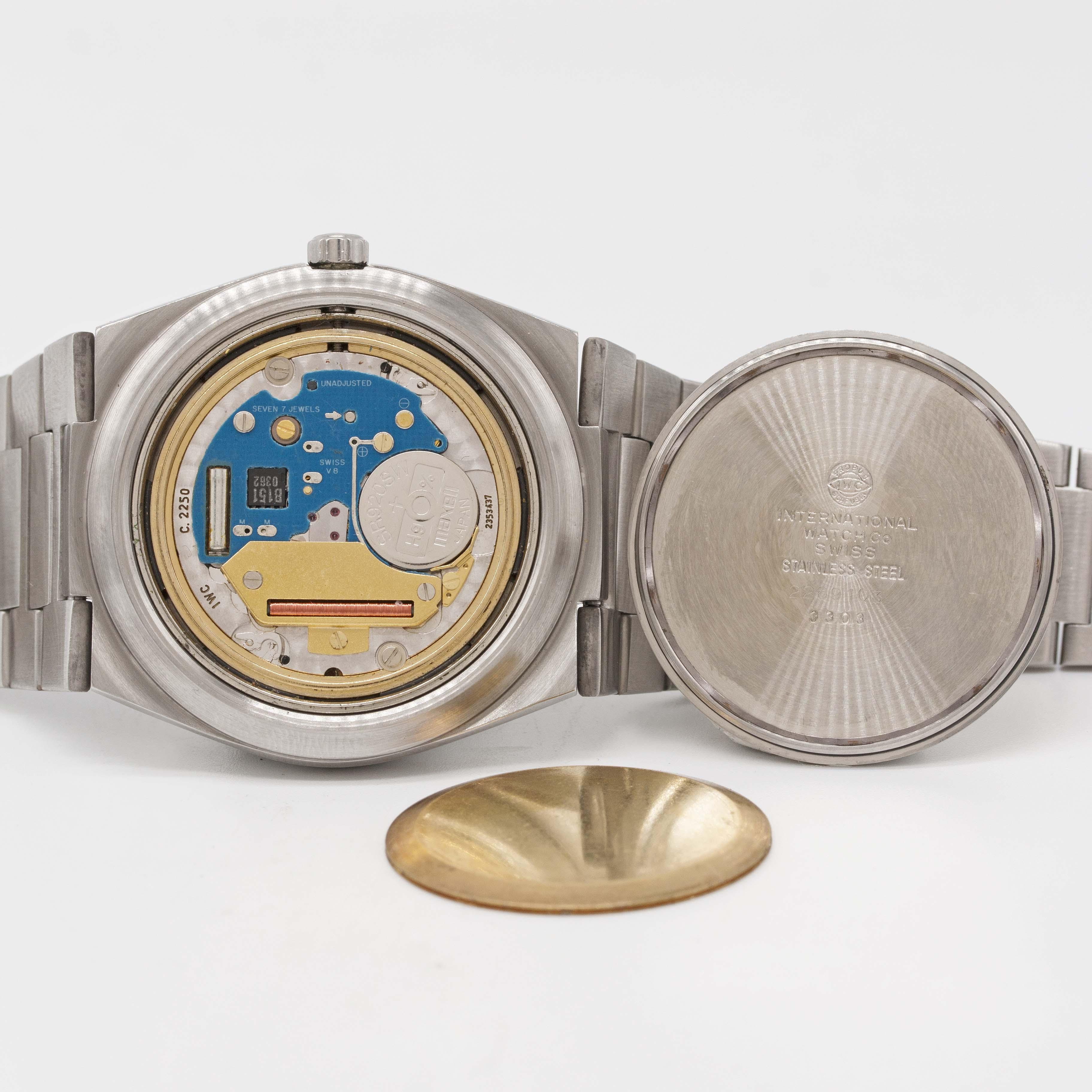 "Lot 56 - A GENTLEMAN'S STAINLESS STEEL IWC INGENIEUR SL ""JUMBO"" QUARTZ BRACELET WATCH CIRCA 1980, REF. 3303"