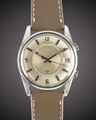 A GENTLEMAN'S STAINLESS STEEL JAEGER LECOULTRE MEMOVOX ALARM WRIST WATCH CIRCA 1960s, WITH QUARTERLY