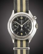 A GENTLEMAN'S STAINLESS STEEL BRITISH MILITARY LEMANIA SINGLE BUTTON ROYAL NAVY PILOTS CHRONOGRAPH
