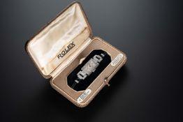 A FINE LADIES 18K SOLID WHITE GOLD & DIAMOND ROLEX COCKTAIL WRIST WATCH CIRCA 1920s, REF. 828