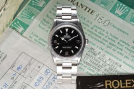 """A RARE GENTLEMAN'S STAINLESS STEEL ROLEX OYSTER PERPETUAL EXPLORER """"BLACK OUT"""" BRACELET WATCH"""