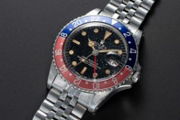 A RARE GENTLEMAN'S STAINLESS STEEL ROLEX OYSTER PERPETUAL GMT MASTER BRACELET WATCH CIRCA 1966, REF.
