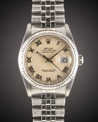 A GENTLEMAN'S STEEL & WHITE GOLD ROLEX OYSTER PERPETUAL DATEJUST BRACELET WATCH CIRCA 1988, REF.