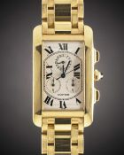 A GENTLEMAN'S 18K SOLID GOLD CARTIER TANK AMERICAINE CHRONOGRAPH BRACELET WATCH DATED 2003, REF.