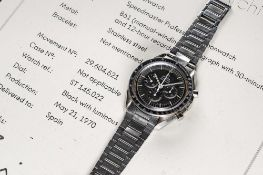A RARE GENTLEMAN'S STAINLESS STEEL OMEGA SPEEDMASTER PROFESSIONAL CHRONOGRAPH BRACELET WATCH DATED