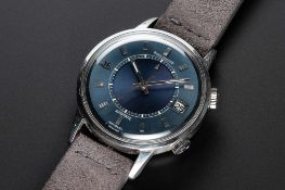 A RARE GENTLEMAN'S STAINLESS STEEL JAEGER LECOULTRE MEMOVOX SPEED BEAT AUTOMATIC ALARM WRIST WATCH