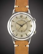 A RARE GENTLEMAN'S STAINLESS STEEL JAEGER LECOULTRE MEMOVOX AUTOMATIC ALARM WRISTWATCH CIRCA