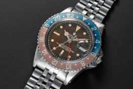 A RARE GENTLEMAN'S STAINLESS STEEL ROLEX OYSTER PERPETUAL GMT MASTER BRACELET WATCH CIRCA 1961, REF.