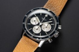 A RARE GENTLEMAN'S STAINLESS STEEL BREITLING CO PILOT CHRONOGRAPH WRIST WATCH CIRCA 1969, REF.