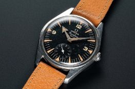 A RARE GENTLEMAN'S STAINLESS STEEL OMEGA RANCHERO WRIST WATCH CIRCA 1958, REF. 2990 1 WITH BLACK