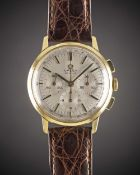 A GENTLEMAN'S 18K SOLID GOLD OMEGA DE VILLE CHRONOGRAPH WRIST WATCH CIRCA 1968, REF. 141.010-67 WITH