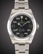 A GENTLEMAN'S STAINLESS STEEL ROLEX OYSTER PERPETUAL AIR KING BRACELET WATCH DATED 2018, REF. 116900
