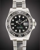 A GENTLEMAN'S STAINLESS STEEL ROLEX OYSTER PERPETUAL DATE GMT MASTER II BRACELET WATCH DATED 2013,